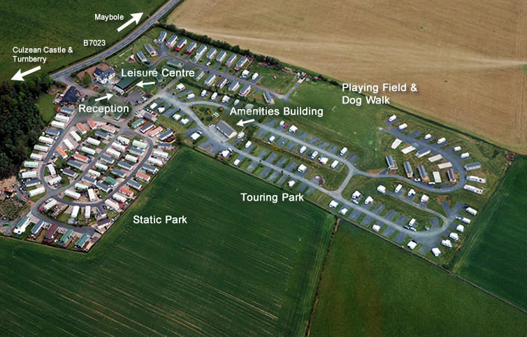 Aerial photo showing location of facilities at The Ranch Holiday Park